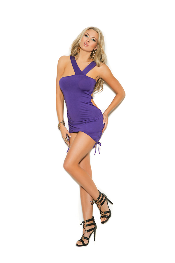 Asymmetrical mini dress with adjustable scrunch si