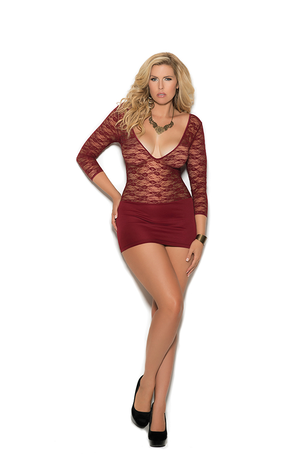 Deep V lace and lycra mini dress with 3/4 sleeves