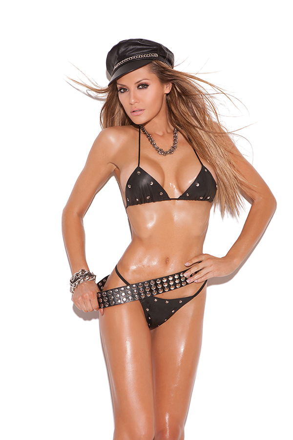 Leather studded bra and g-string.