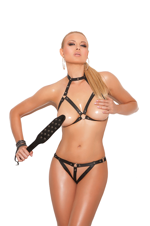 Leather bra and g-string with open bust and crotch.