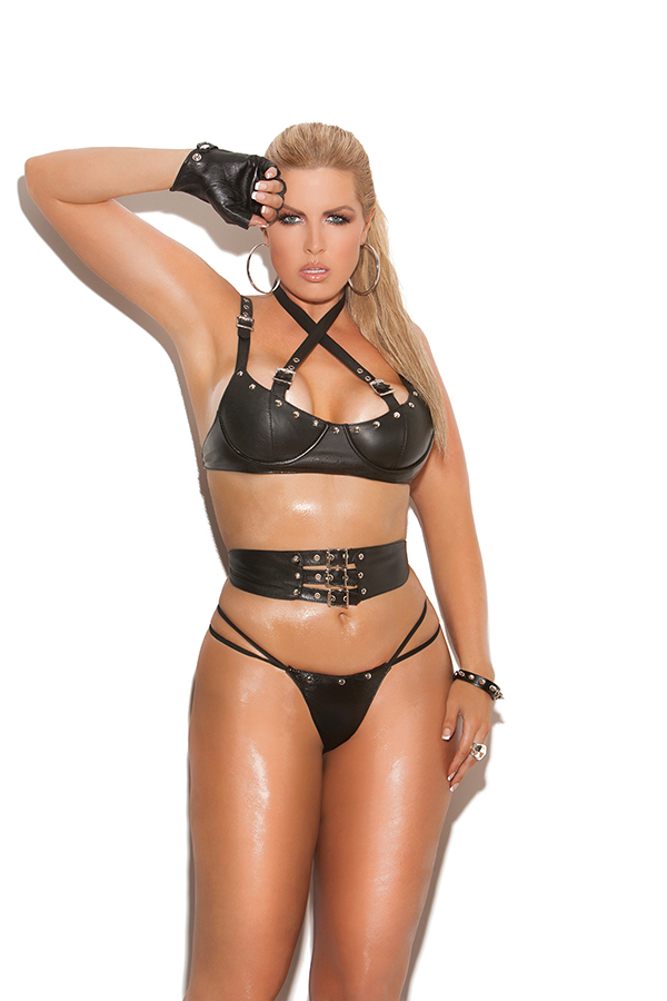 Leather underwire bra with criss cross straps with buckle detail