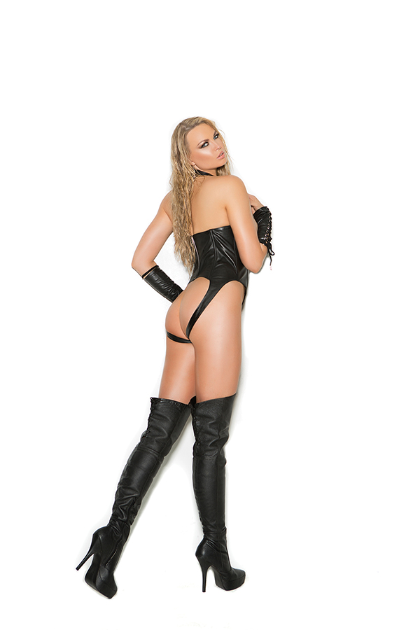 Leather cupless teddy with lace up front, zipper back closure an