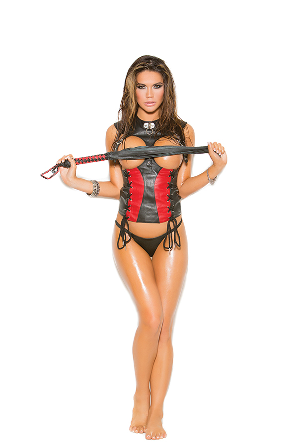 Leather corset with lace up front detail, adjustable buckles, ly
