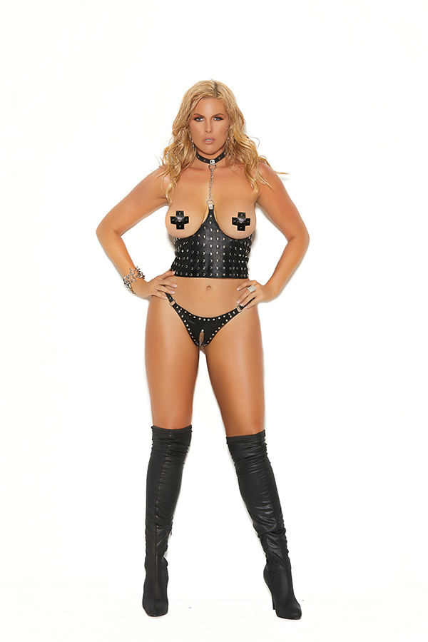 Leather cupless chain top with nail heads and lyrca zip back clo