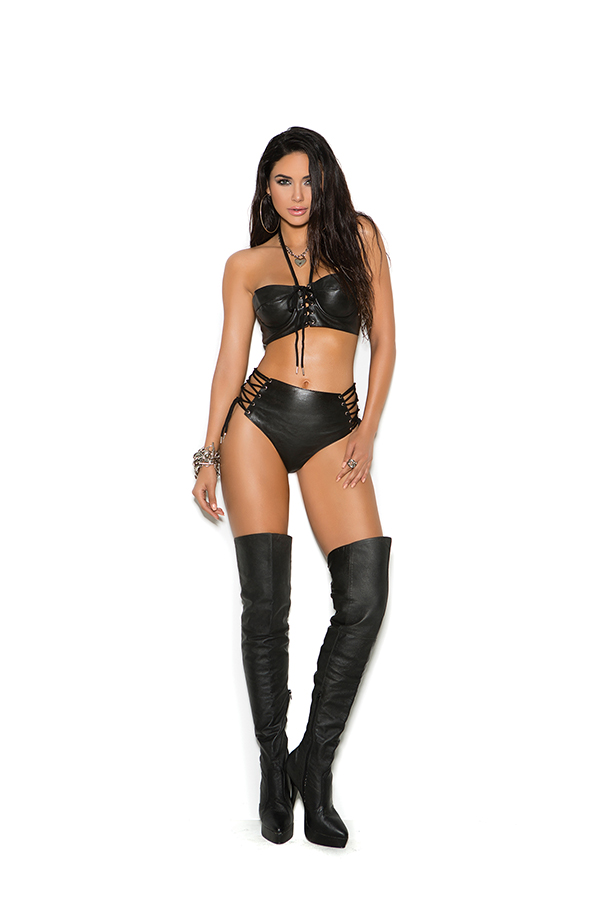 Leather top with underwire cups and lace up front.