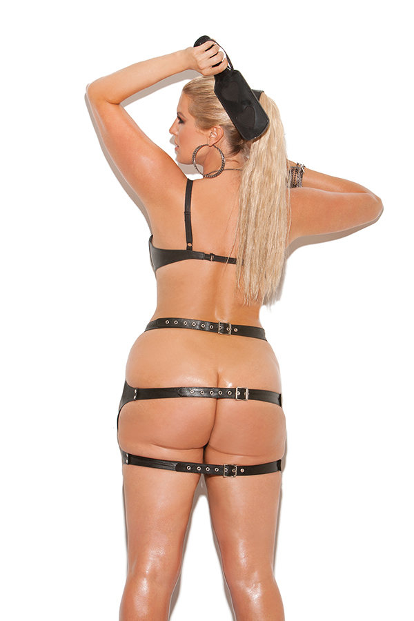Leather spanking skirt with adjustable buckle closure. *Availabl