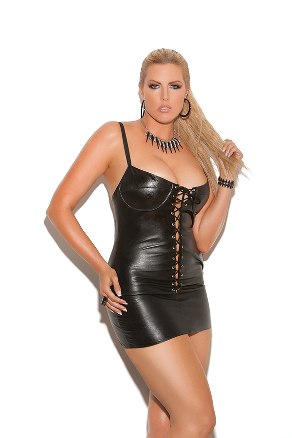 Lace up leather mini dress. Adjustable straps, underwire bra and