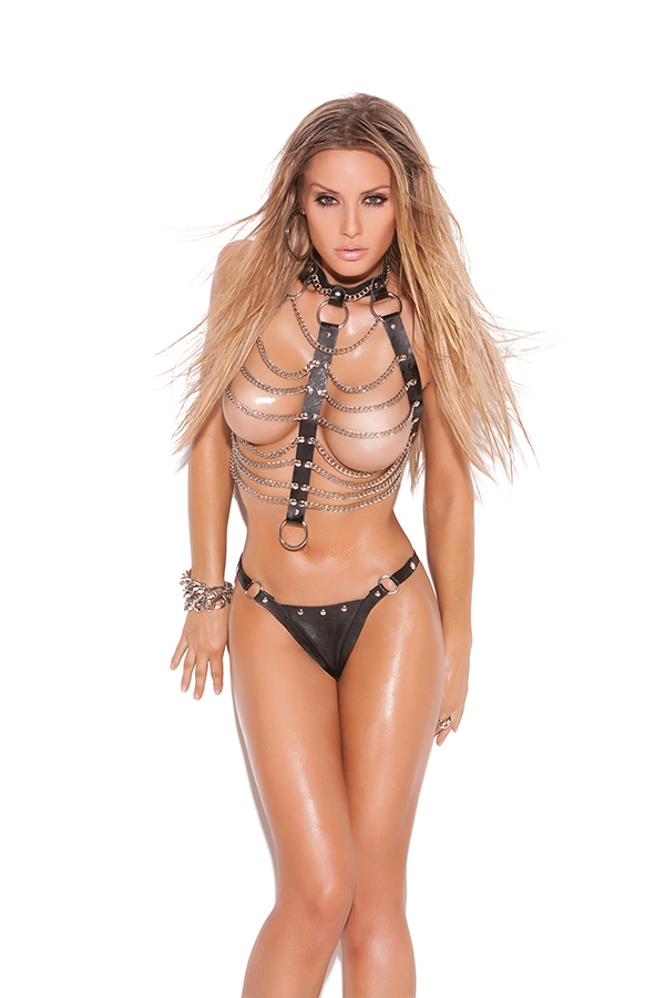 Leather and chain vest with ring detail and matching thong with