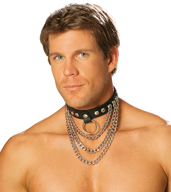 Men\'s leather collar with chains and O ring.