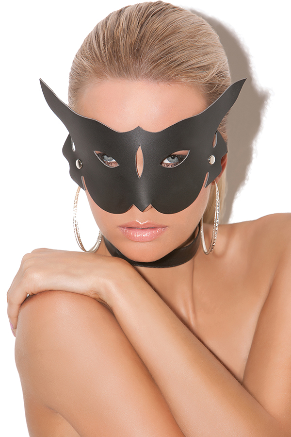 Leather cat mask.