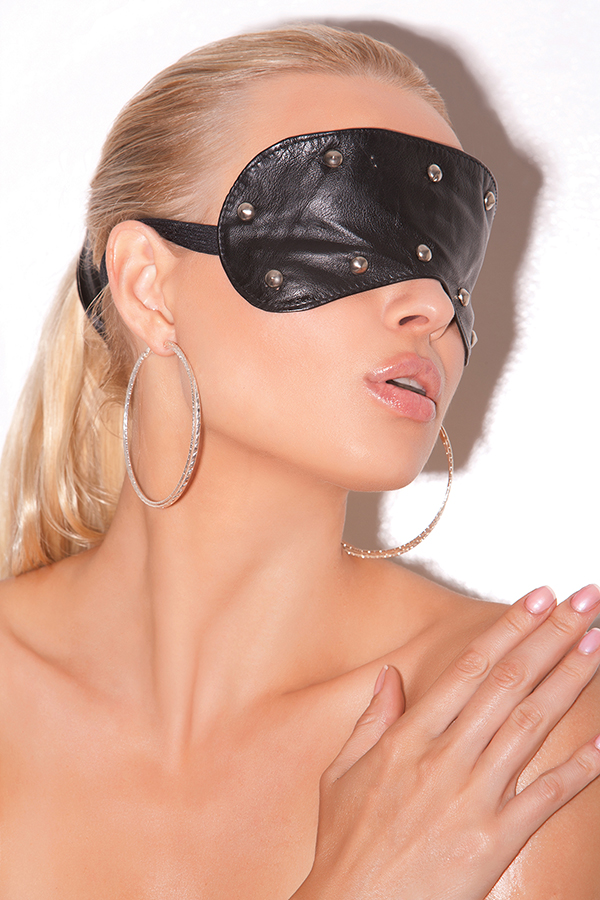Leather blindfold with studs.