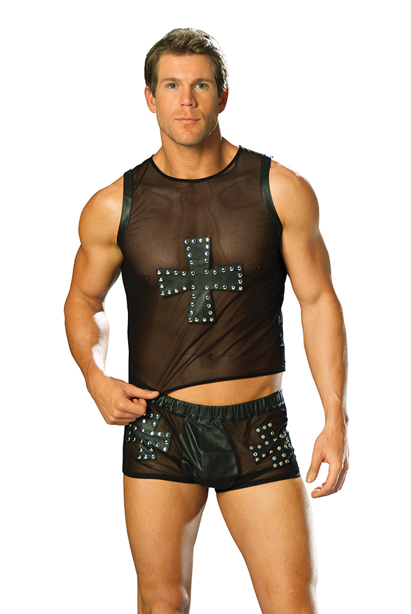 Mesh tank top with leather cross trimmed in nail heads.