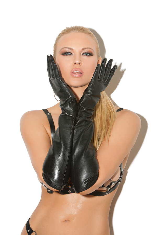 Long leather gloves. *Available Boxed