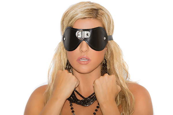 Leather blindfold with D ring detail. *Available Boxed