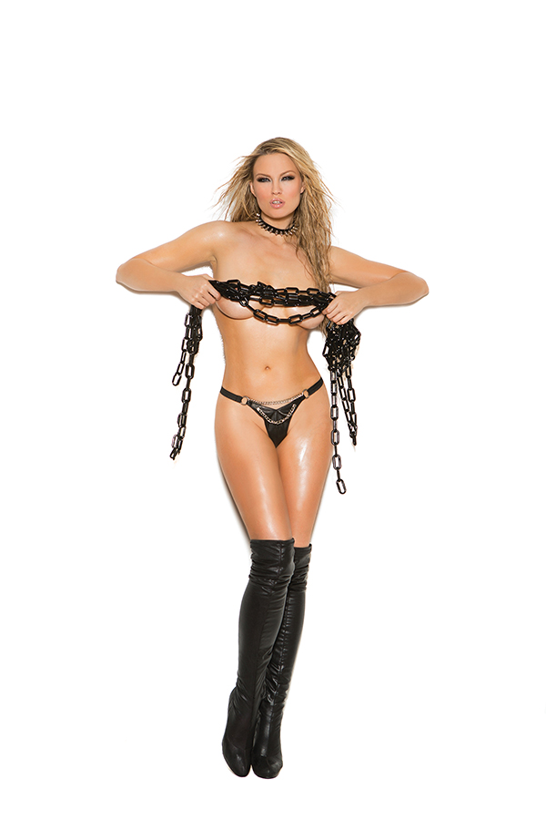 Leather g-string with rivets and side buckle closure. *Available