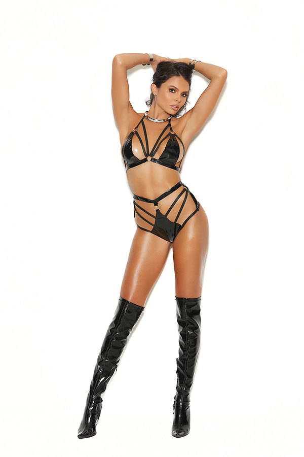 Vinyl string bra top with strappy detail and matching high waist