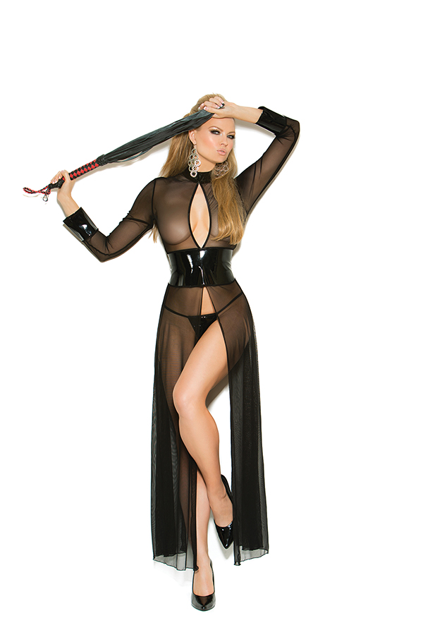 Mesh and vinyl long sleeve gown with adjustable hook and eye bac