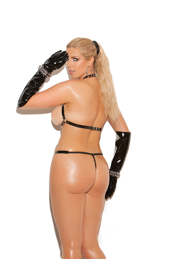 Vinyl thong back strap teddy with O rings. *