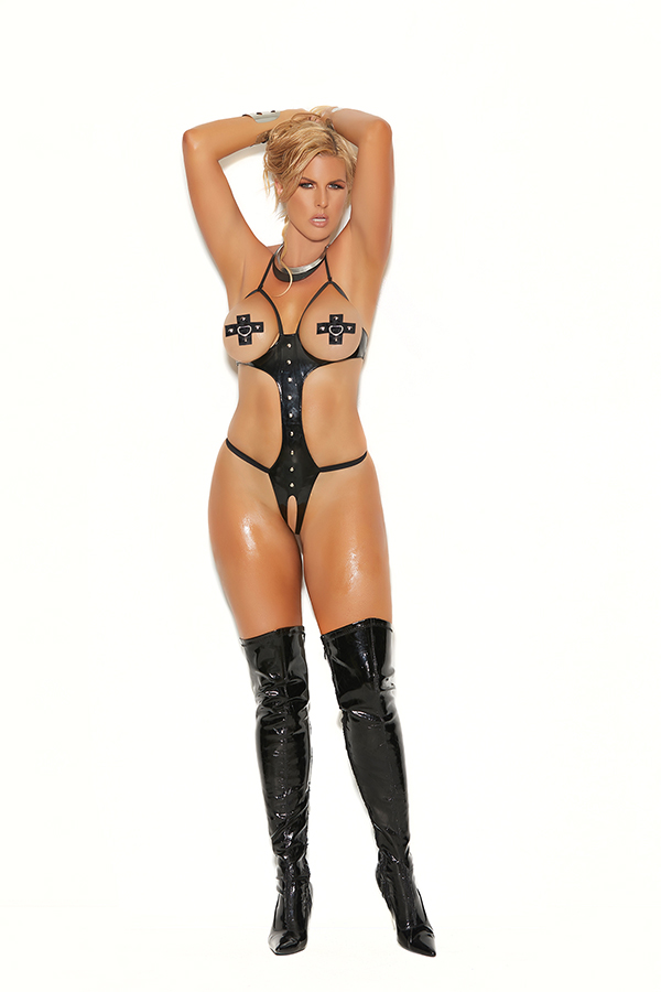 Vinyl halter neck open bust and peek-a-boo string teddy.