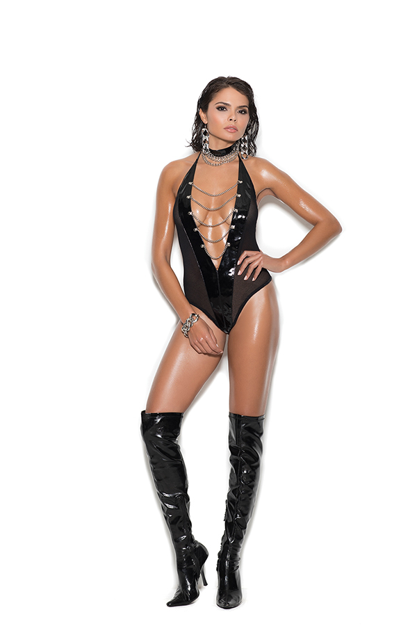 Vinyl and fishnet halter neck teddy with front chain detail.