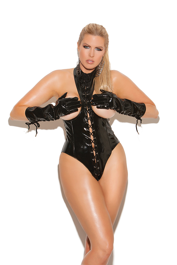 Vinyl cupless teddy with lace up front, zipper back closure and