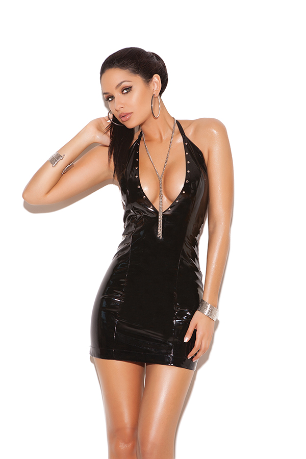 Deep V vinyl halter dress with nail heads.