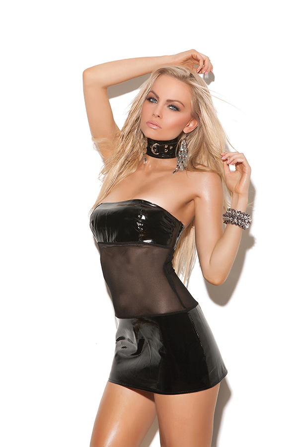 Bandeau vinyl and mesh mini dress.