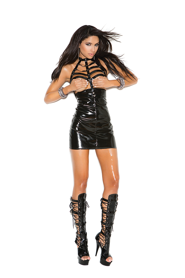 Vinyl open bust mini dress with caged neck and zipper back.