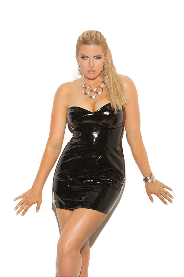 Strapless vinyl spanking dress with adjustable buckle closure. *