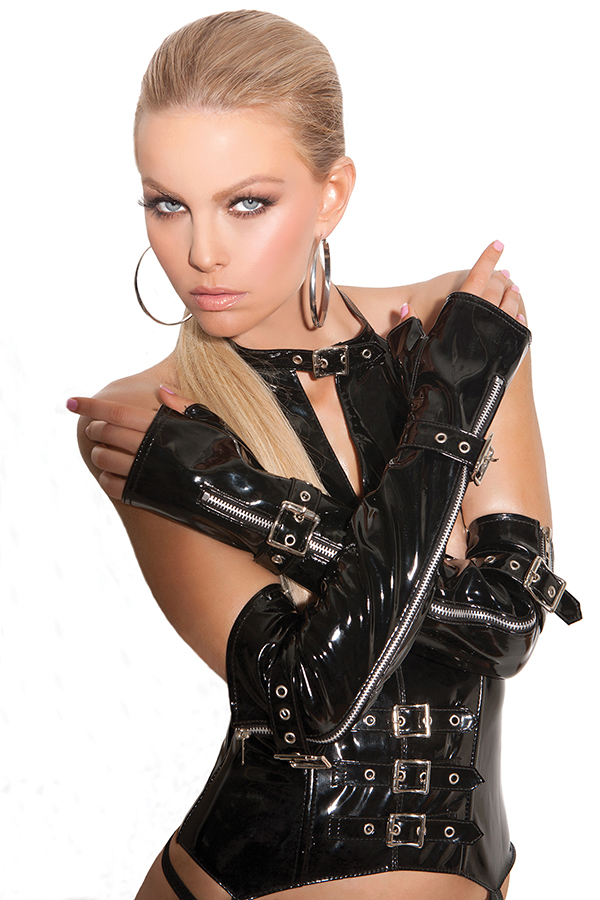 Fingerless vinyl gloves with zipper and buckle detail. *