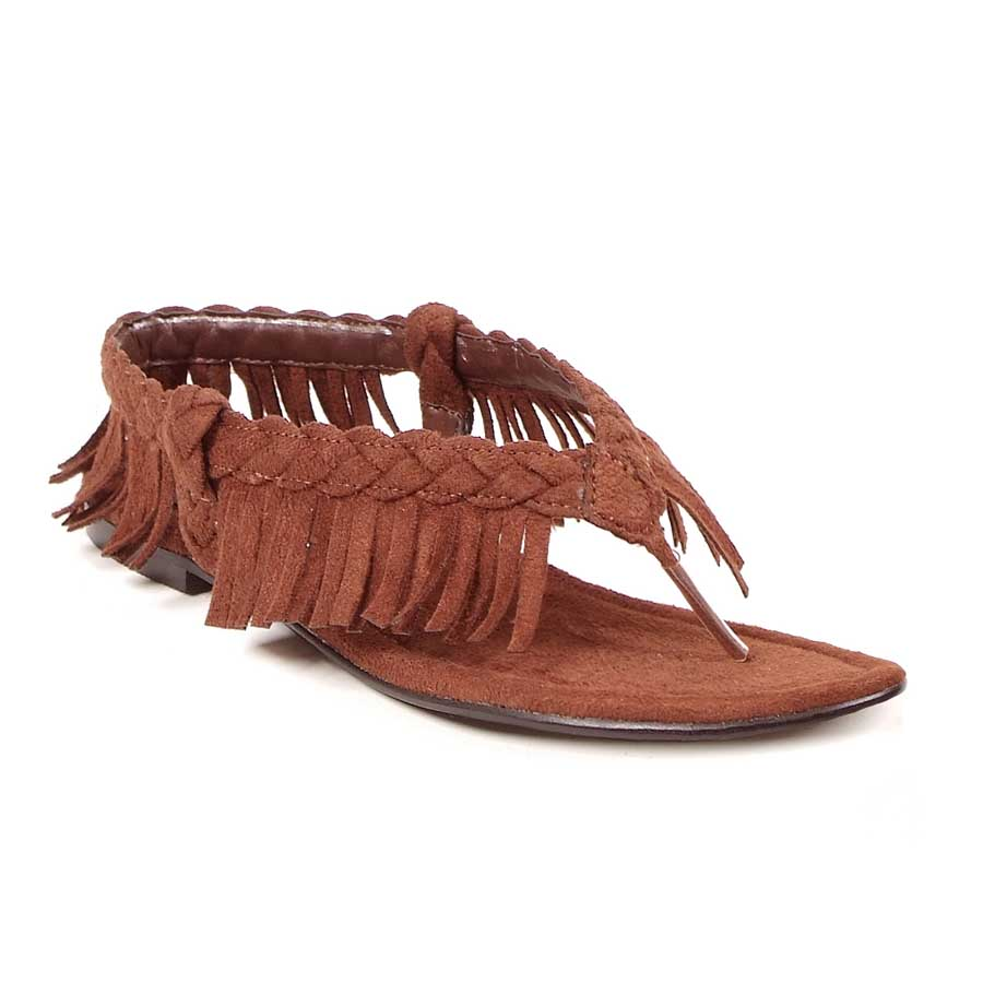 "0"" Heel Sandal with Braid and Fringe Adult."