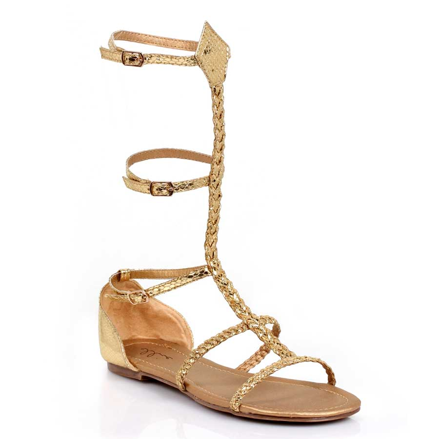"0"" Heel Gold Braid Rope Sandal."