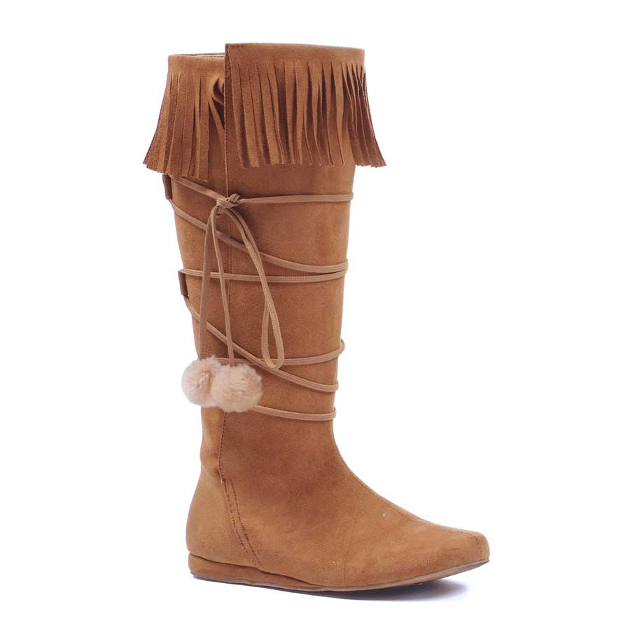 "1"" Heel Boot with fringe and poms."