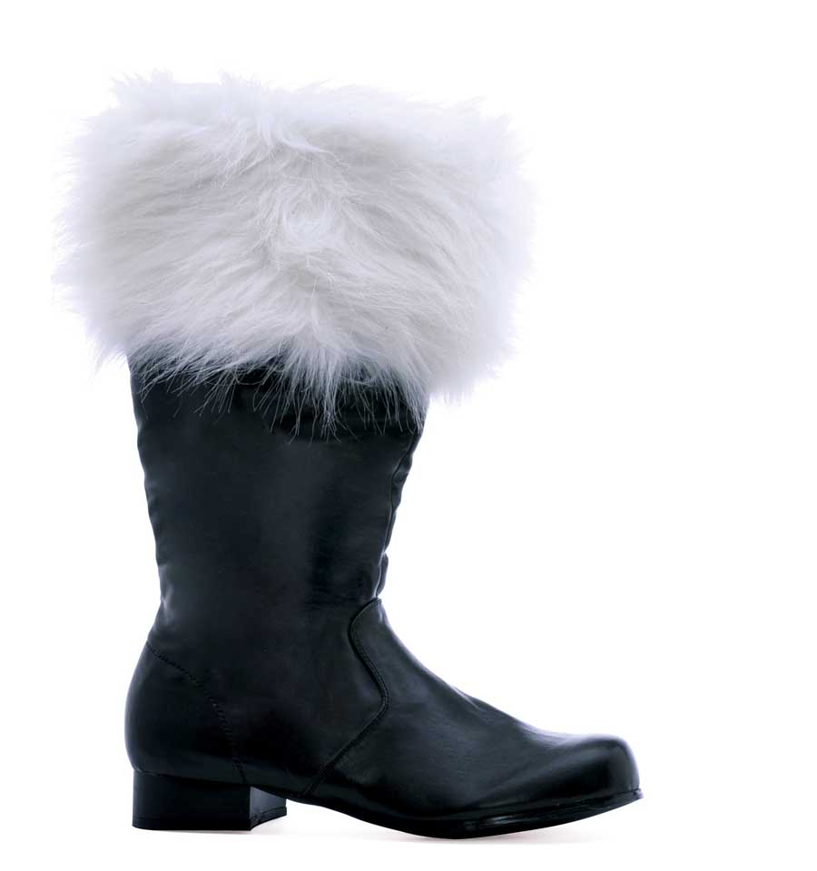 "121-NICK Black PU 1"" Heel Boot with Fur. (Mens Sizes)"