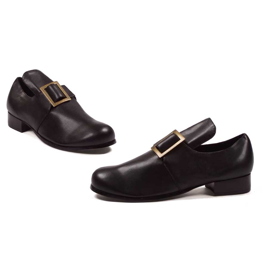 "121-SAMUEL Black PU 1"" Shoe With Buckle. (Mens Sizes)"