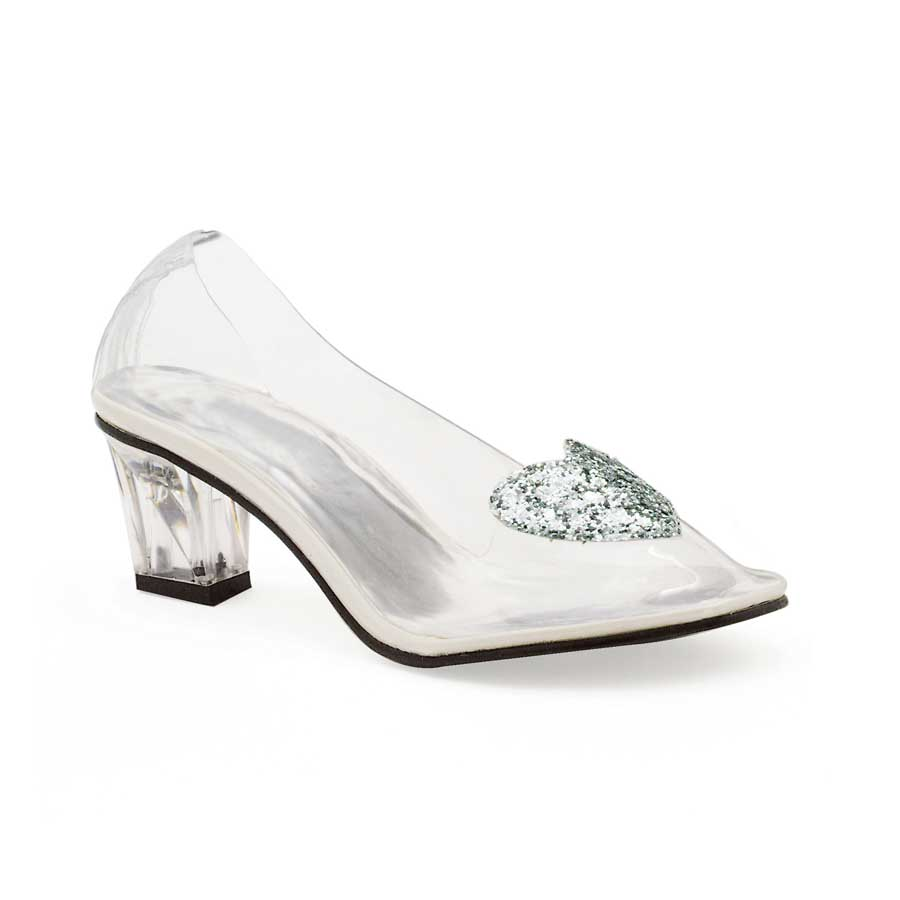 "2"" Heel Clear Slipper with Silver Glitter Heart."