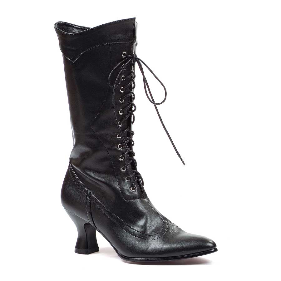 "2.5"" Black PU Ankle Boot with Zipper."