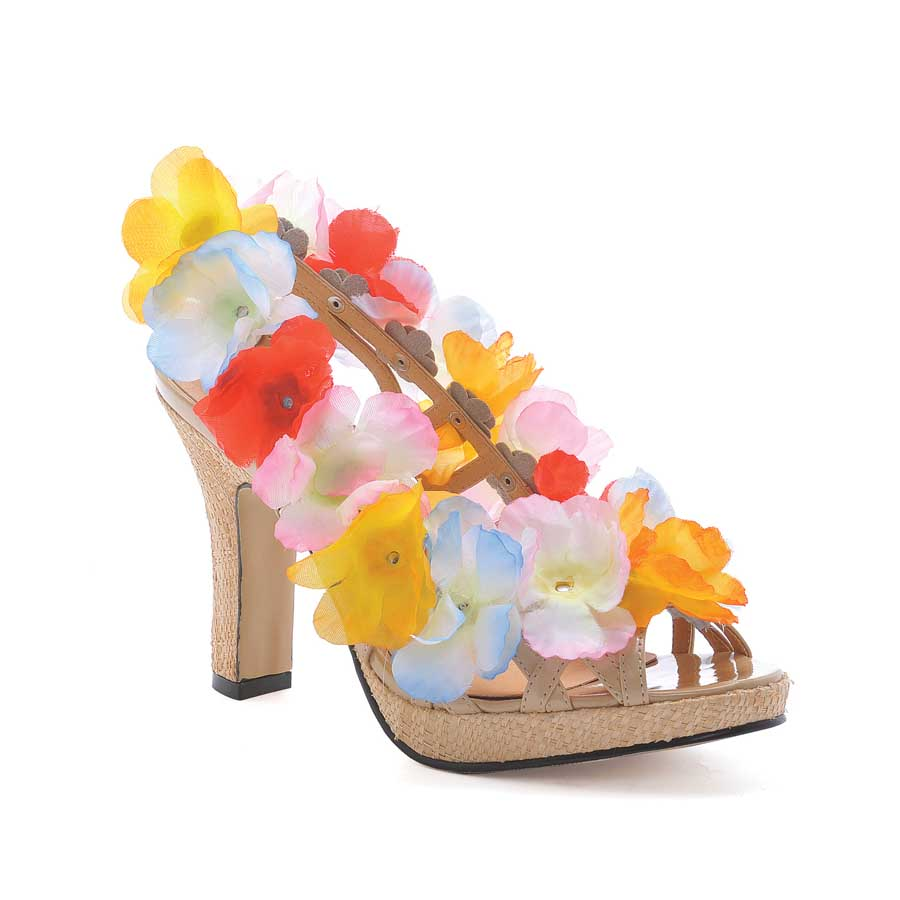 "4"" Tan Shoe with Flowers"
