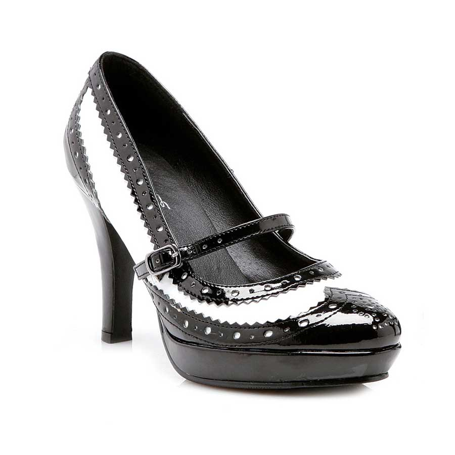 "4"" Heel Black and White Pointy Toe Pump."