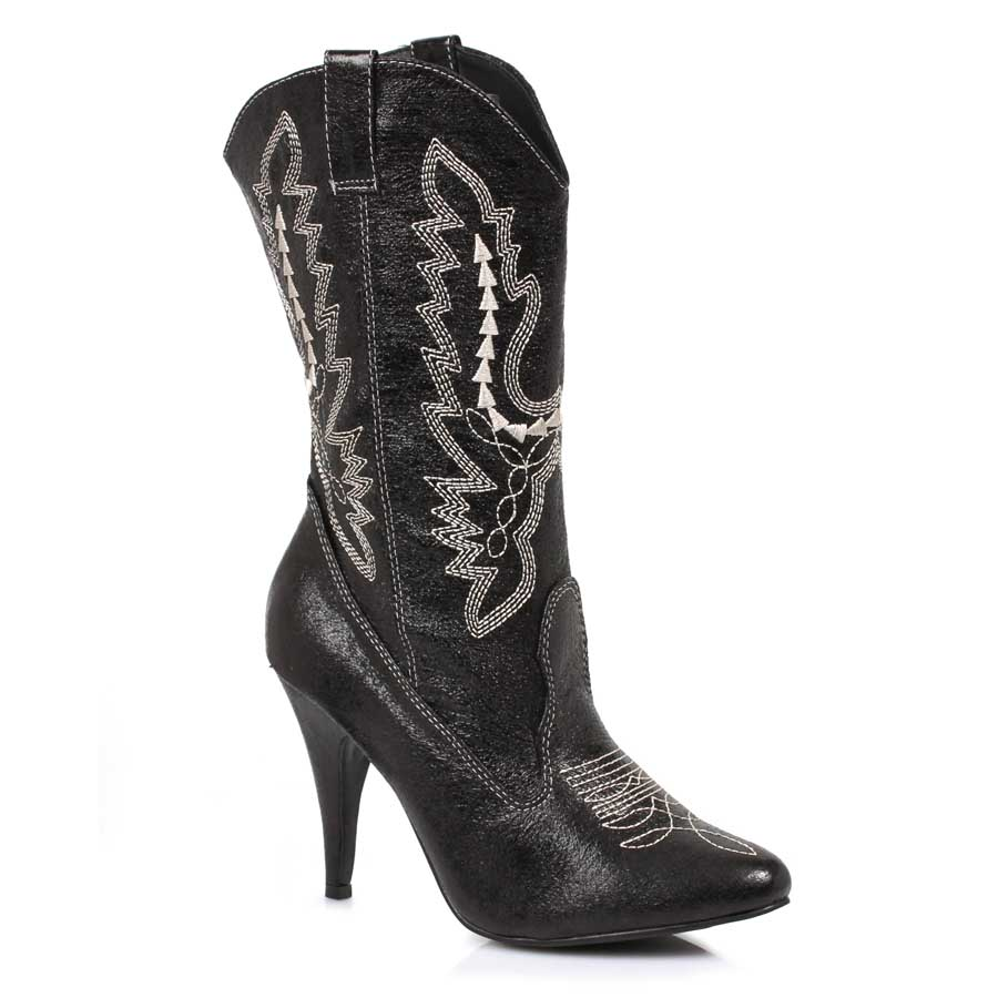 "Black 4"" Heel Ankle Cowgirl Boot."