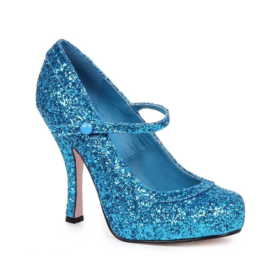 "ES:423-CANDY Blue Glitter 4"" Glitter Mary Jane With 1Concealed P"