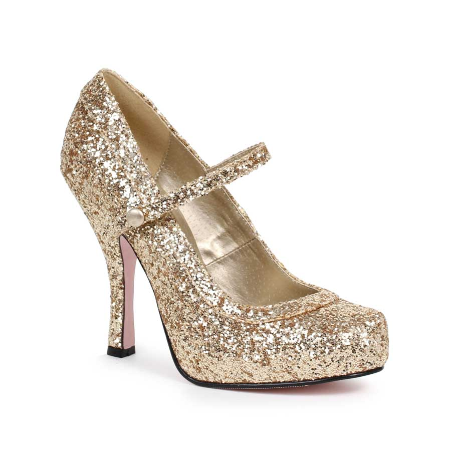 "ES:423-CANDY Gold Glitter 4"" Glitter Mary Jane With 1Concealed P"