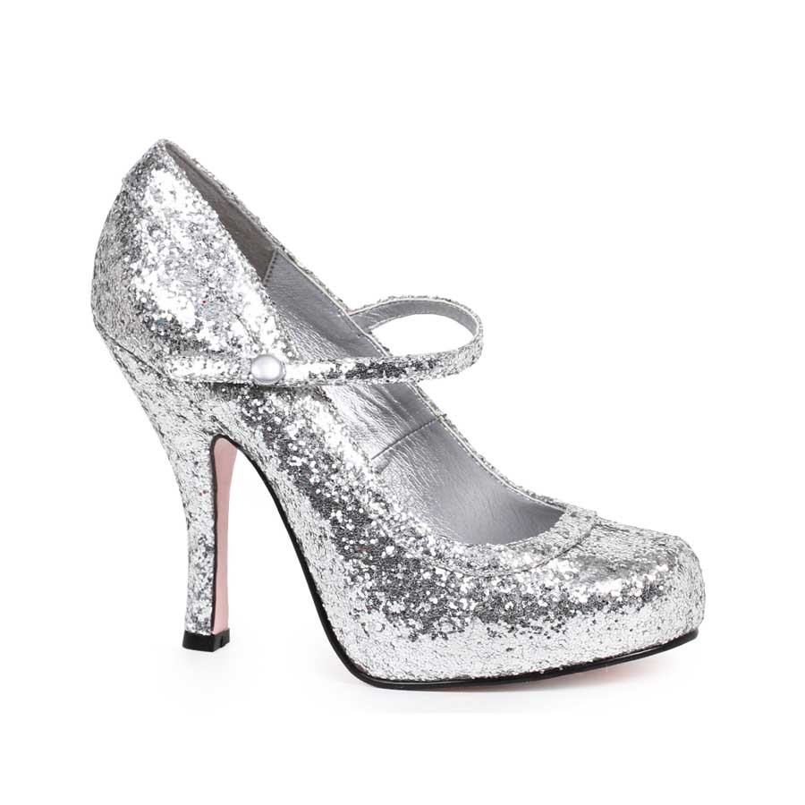 "ES:423-CANDY Silver Glitter 4"" Glitter Mary Jane With 1Concealed"