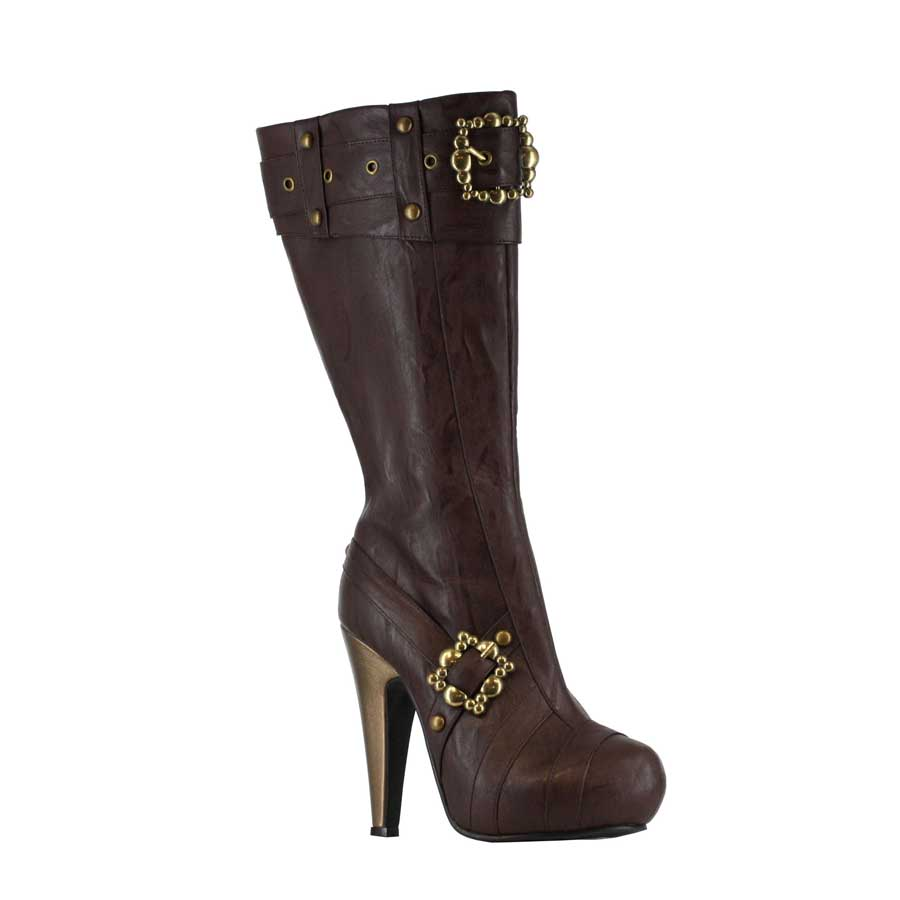 "4"" Knee-High Steampunk Boot with Buckles and Studs. Womens."