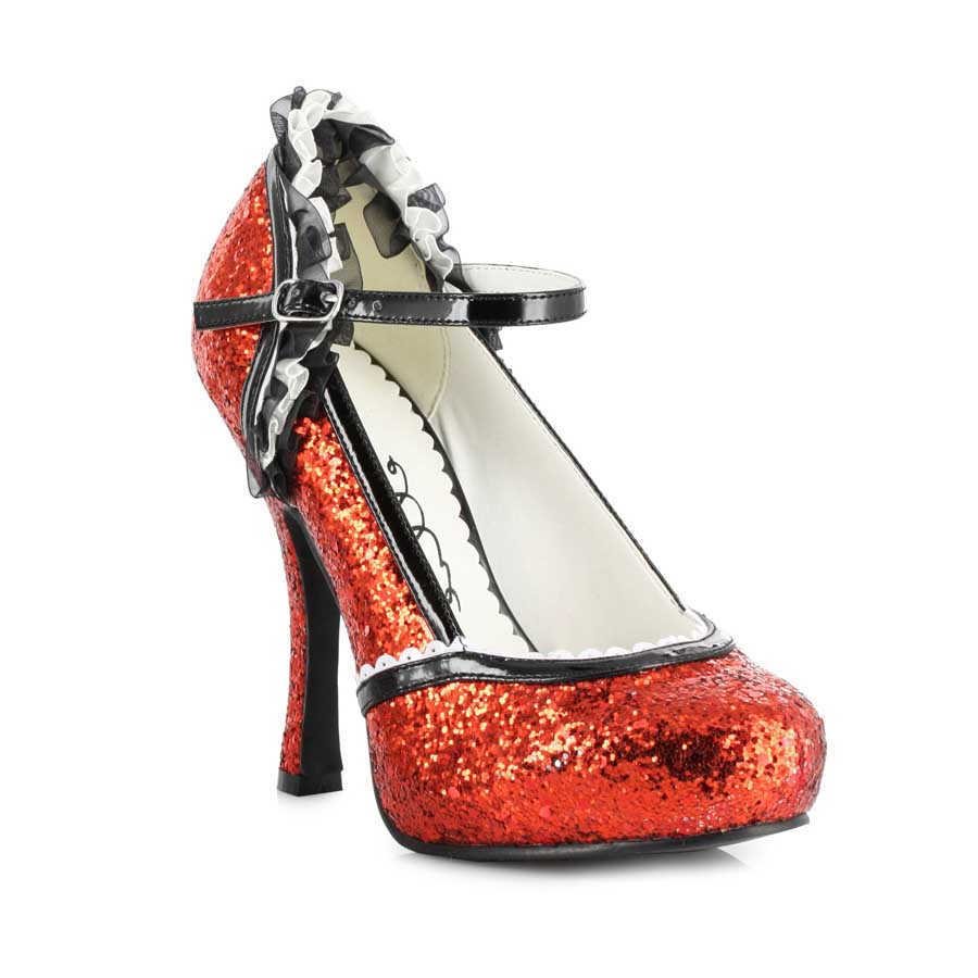 "4.5"" Heel Glitter Shoe with Bow Clip"