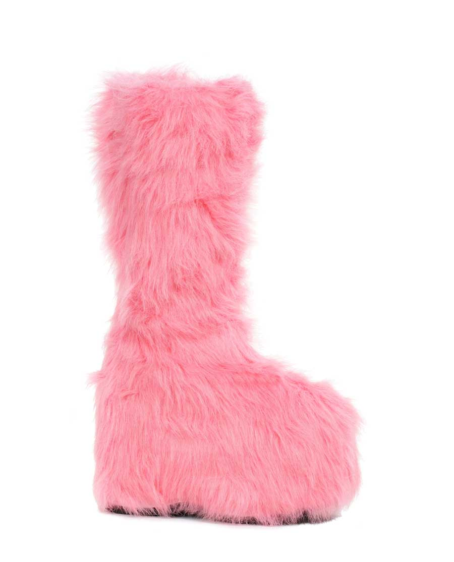 "5"" Platform Fuzzy Boot Womens with inside Zipper"