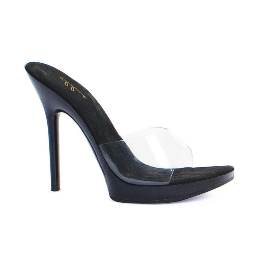 "ES:502-VANITY Clear W/ Black 5"" Heel Clear Mule."