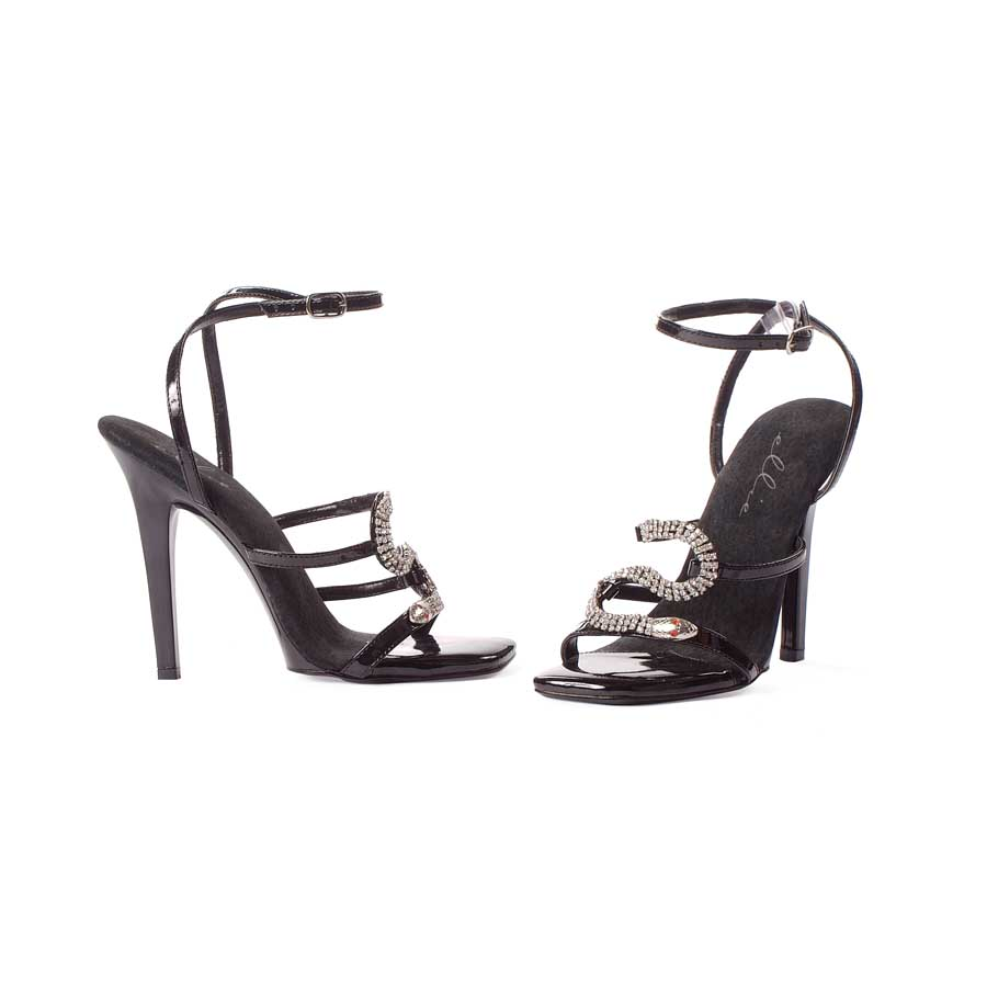 "5"" Heel Strap Sandal with Snake Décor."