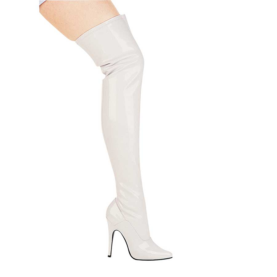 "ES:511-ALLY White 5"" Heel Thigh High Stretch Boot."