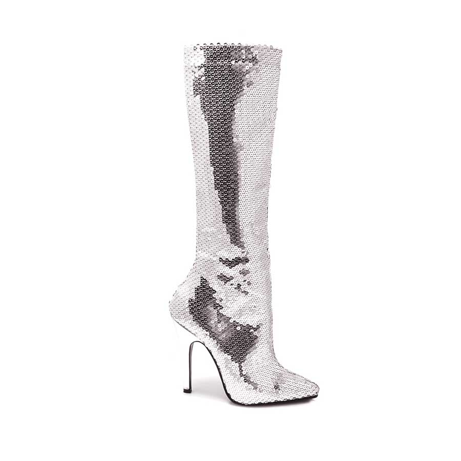 "5"" Heel Sequins Knee Boot with Zipper."